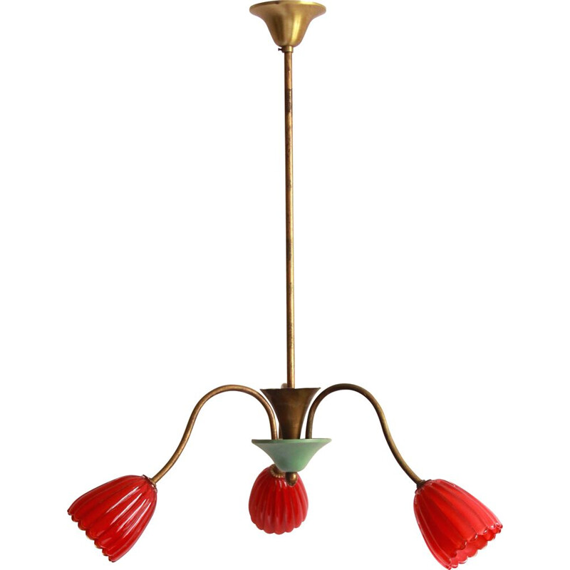 Vintage TreFiori chandelier with flowers from Murano, Italy 1950