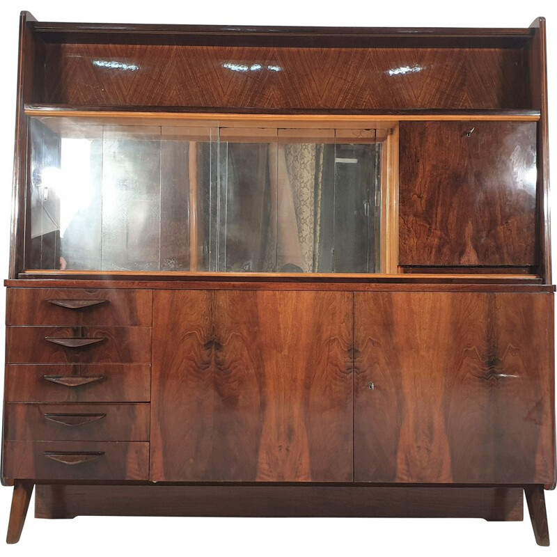 Vintage highboard with showcase, Tatras 1970
