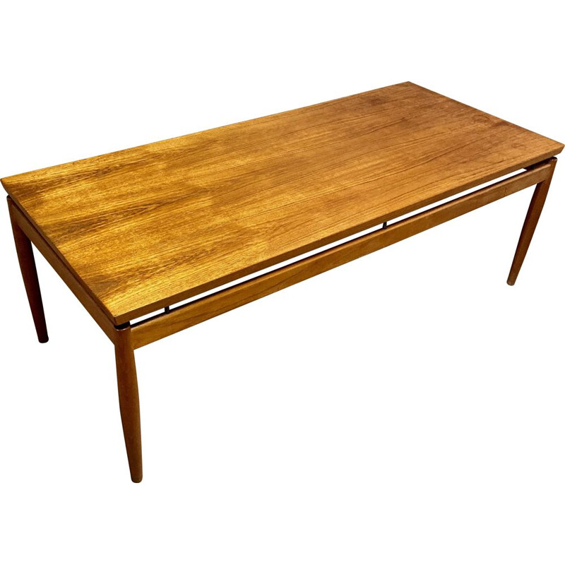 Vintage teak coffee table stamped Grete Jalk for France & Son, Scandinavian 1950s