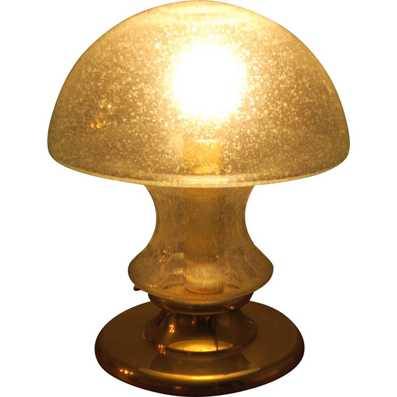 Vintage Doria Brass and Bubble Glass Table Lamp with Mushroom Shape 1960s