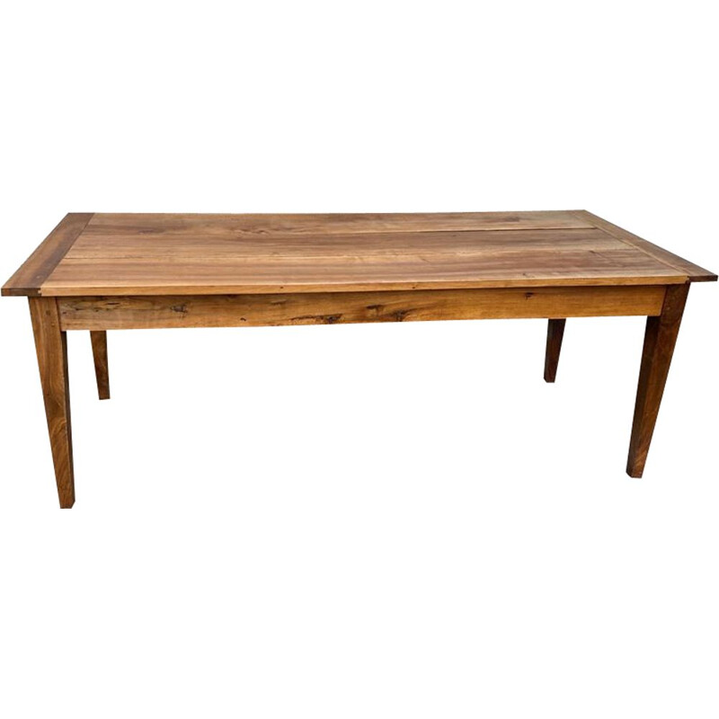 Vintage dining farm table for 8 persons in solid walnut with 2 drawers