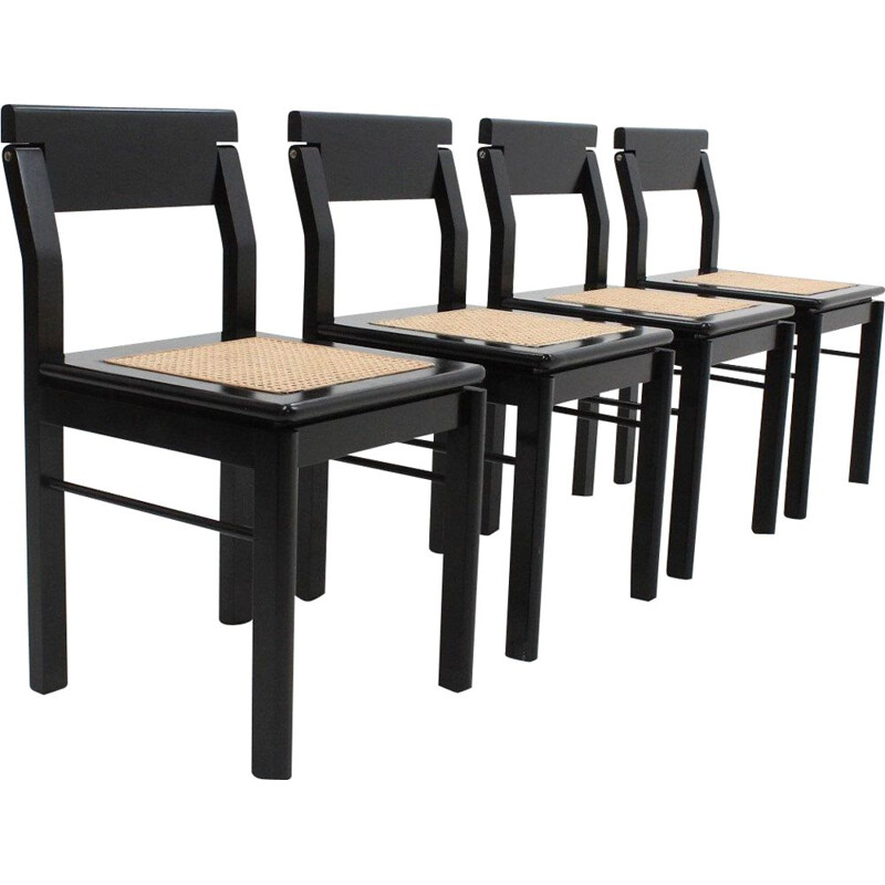 Set of 4 vintage chairs in black lacquered wood and straw from Vienna, Italy 1970
