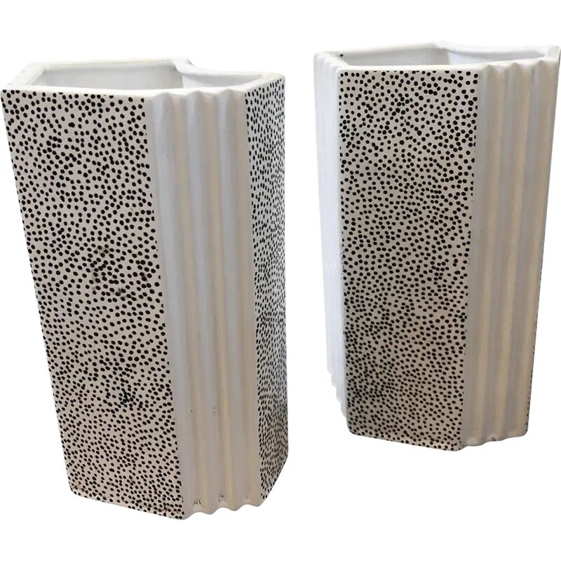 Pair of vintage Memphis black and white ceramic vases, Italy 1980