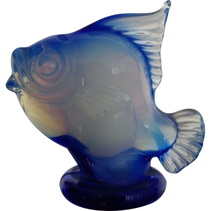Vintage fish in opalescent glass from Seguso 1950s