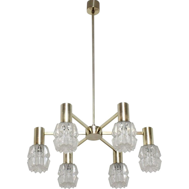 Vintage frosted glass chandelier Kaiser Leuchten, Germany 1960
