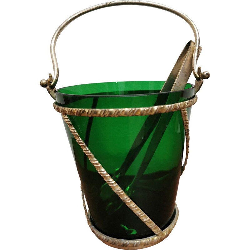 Vintage silver and murano glass ice bucket 1930