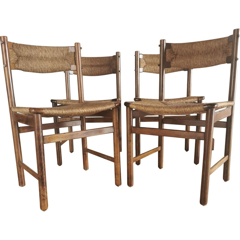 Set of 4 vintage ash and straw chairs 1950's