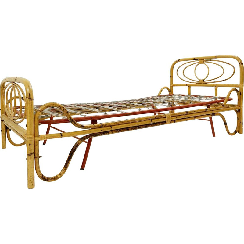 Vintage Bamboo Sofa-Bed Italy 1960s