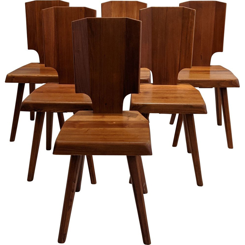 Set of 6 vintage chairs by Pierre Chapo
