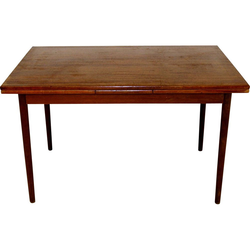 Vintage retractable teak dining table