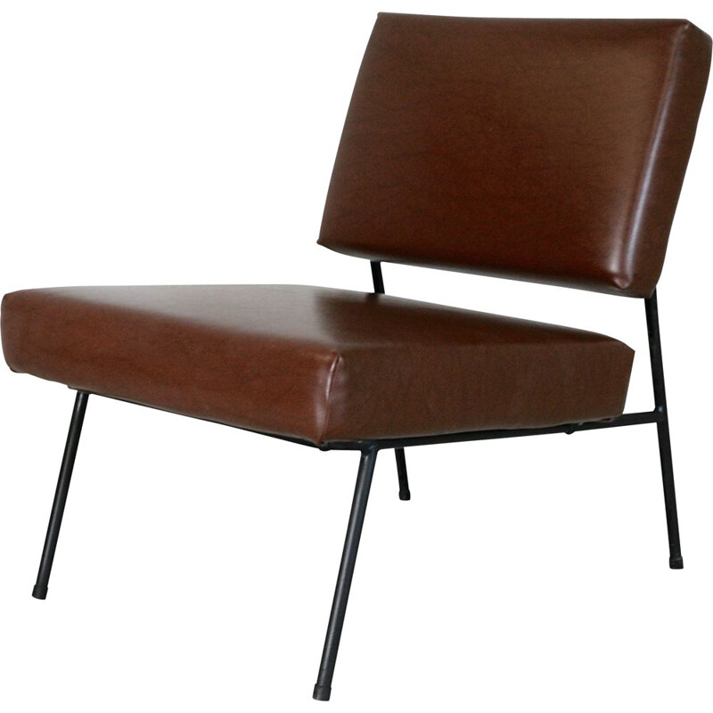 Vintage Pierre Guariche's brown Airborne lounge chair France 1960s