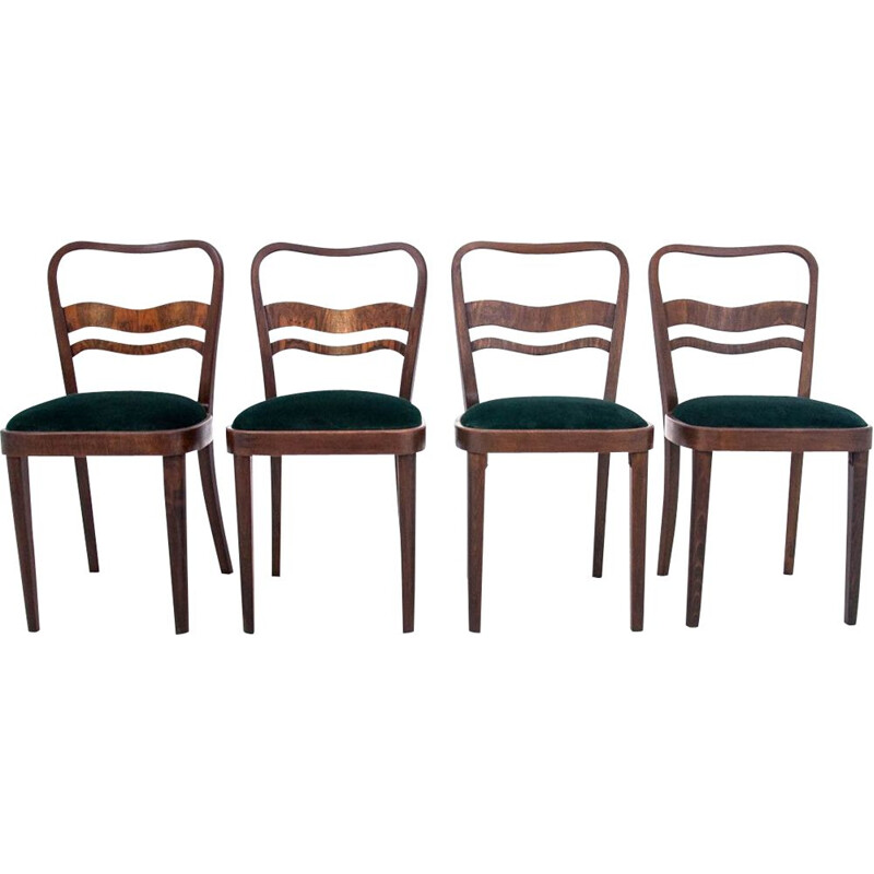 Set of 4 vintage Art Deco chairs Poland 1960s