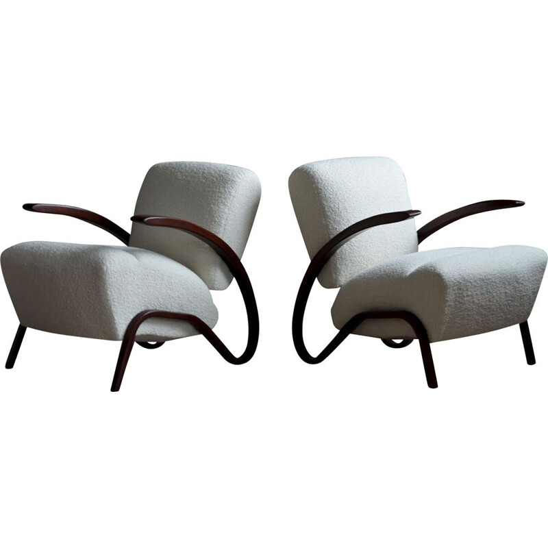 Pair of vintage Art Deco Armchairs by J. Halabala 1930s