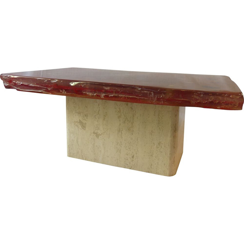 Vintage Red coffee table qith travertine base