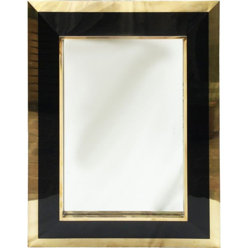 Vintage brass mirror, black and bronze lacquered