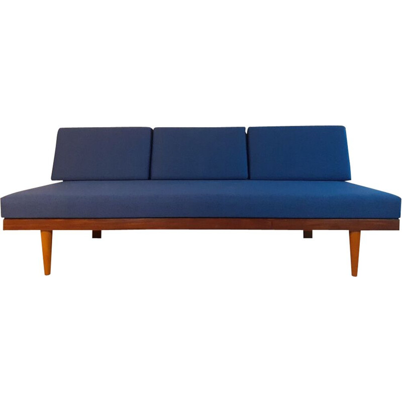 Vintage teak and blue fabric sofa or bed by Ekornes Norvégien 1960s