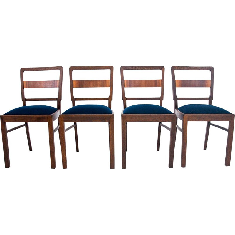 Set of 4 vintage Art Deco chairs Poland 1940s
