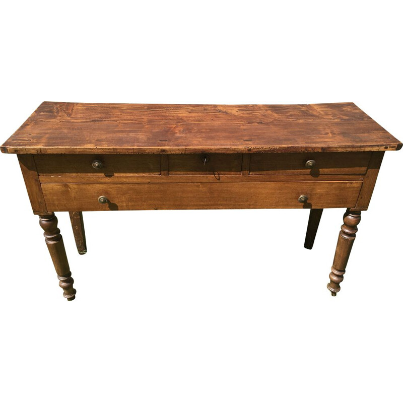 Vintage rustic console in beech and oak