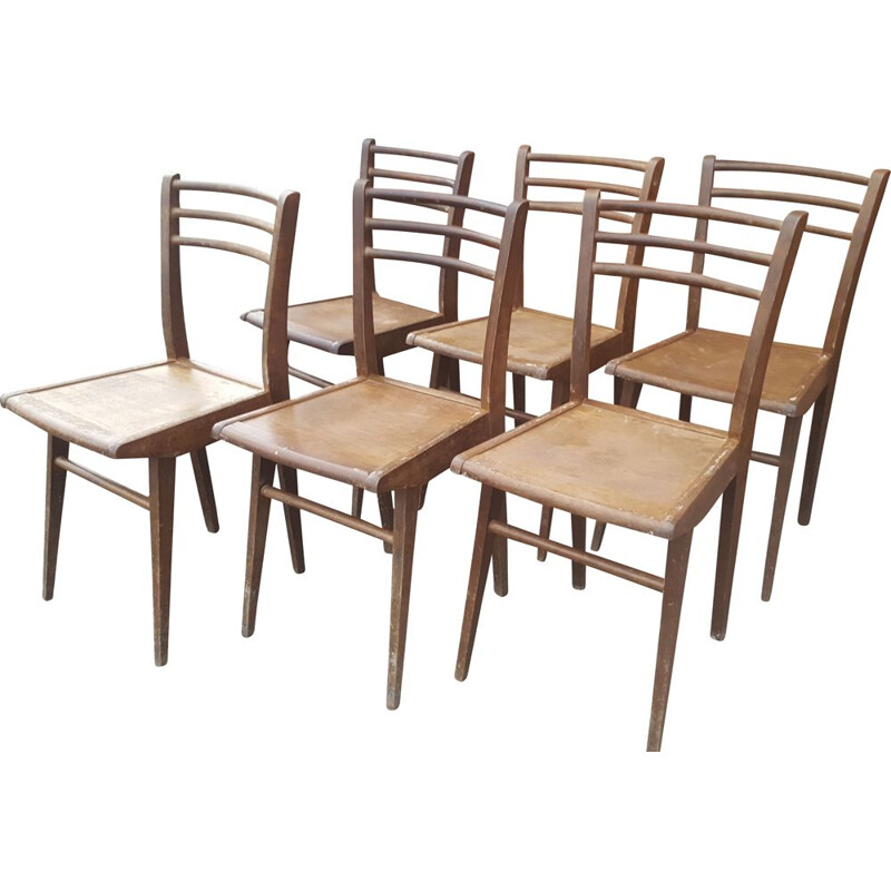 Set of 6 vintage Stella solid beech chairs 1940