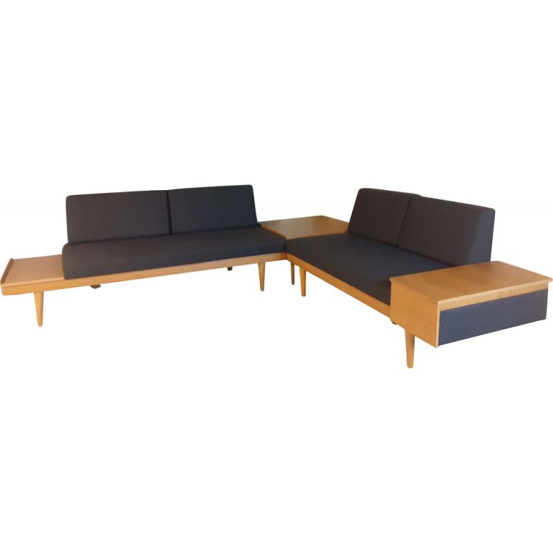 Vintage living room set in oak and anthracite fabric by Ingmar Relling for Ekornes, Norway 1960