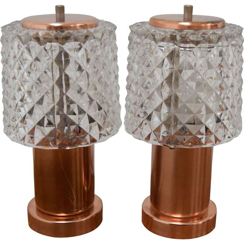 Pair of small vintage table lamps Preciosa by Kamenicky Senov 1970