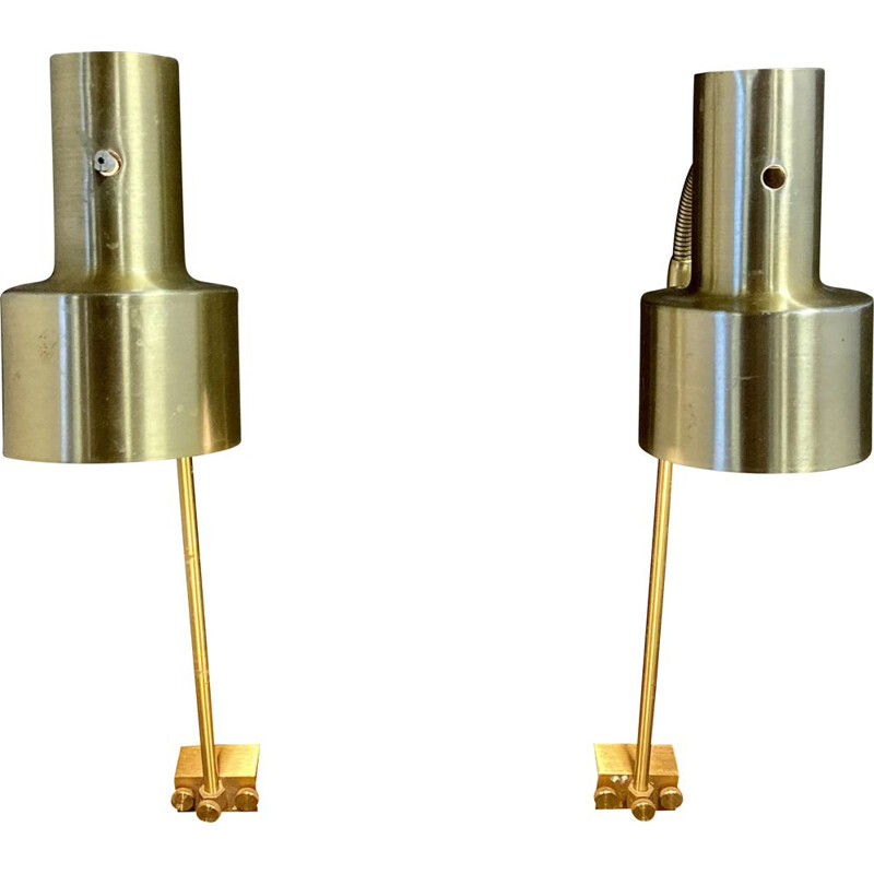 Pair of vintage modulated wall lamps Scandinavian 1950s