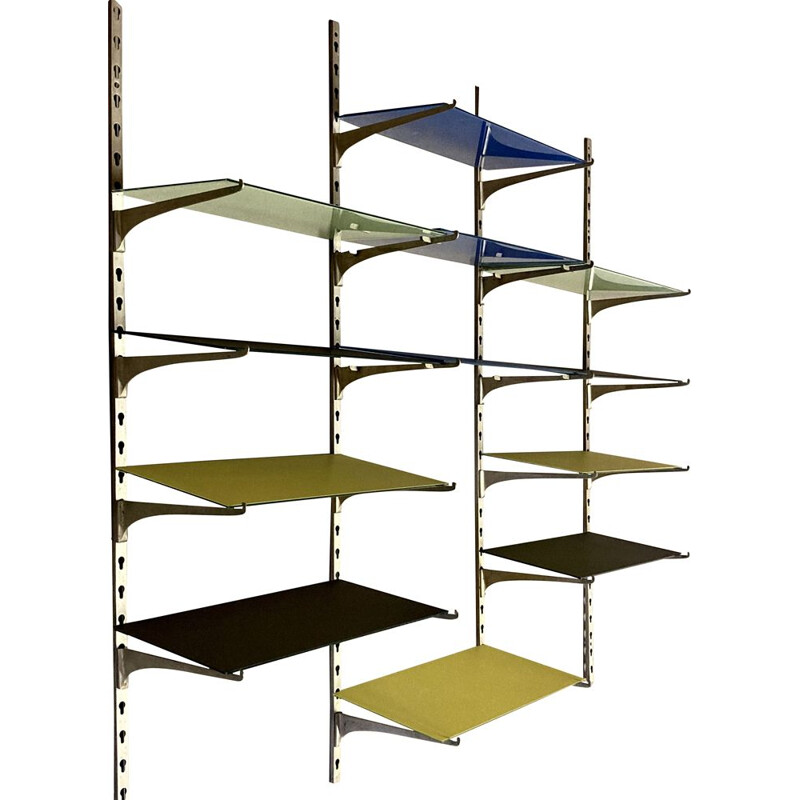 Vintage glass and metal modular shelf 1950s