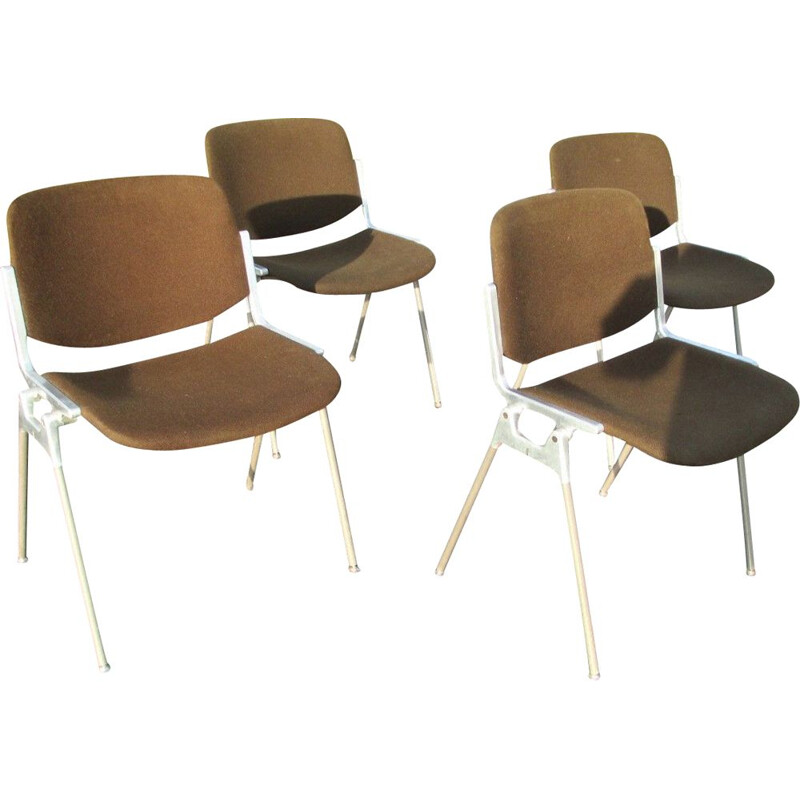 Set of 4 vintage chair by G. Piretti for Castelli Anonima Castelli Italy 1960s