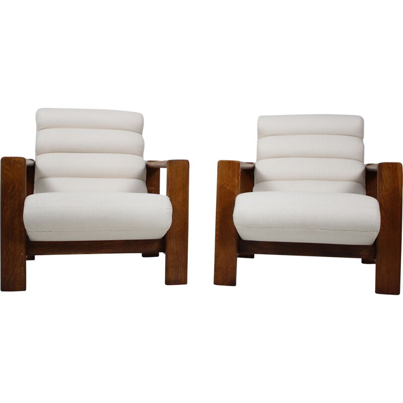 Pair of Mid-century Oak Armchairs Italian 1970s