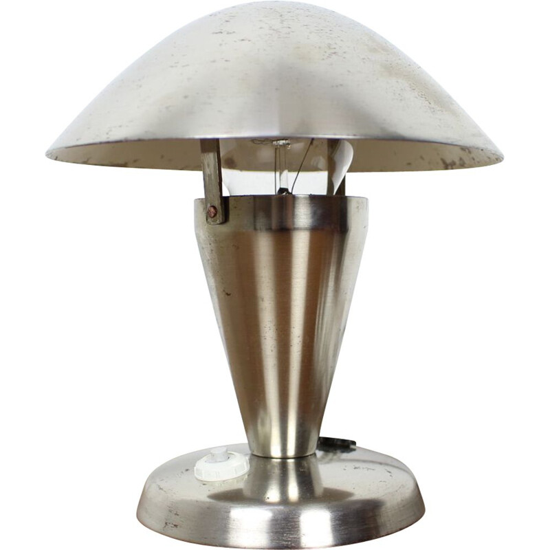 Vintage Art Deco Chrome Bauhaus Table Lamps Czechoslovakia 1930s
