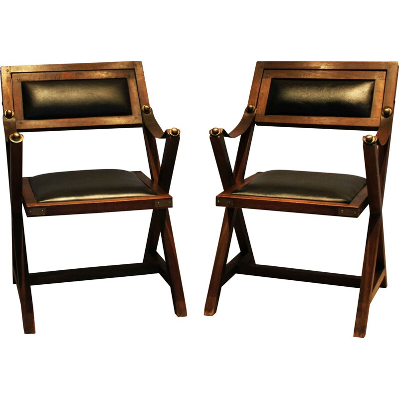 Pair of vintage wooden children's chairs 1970s