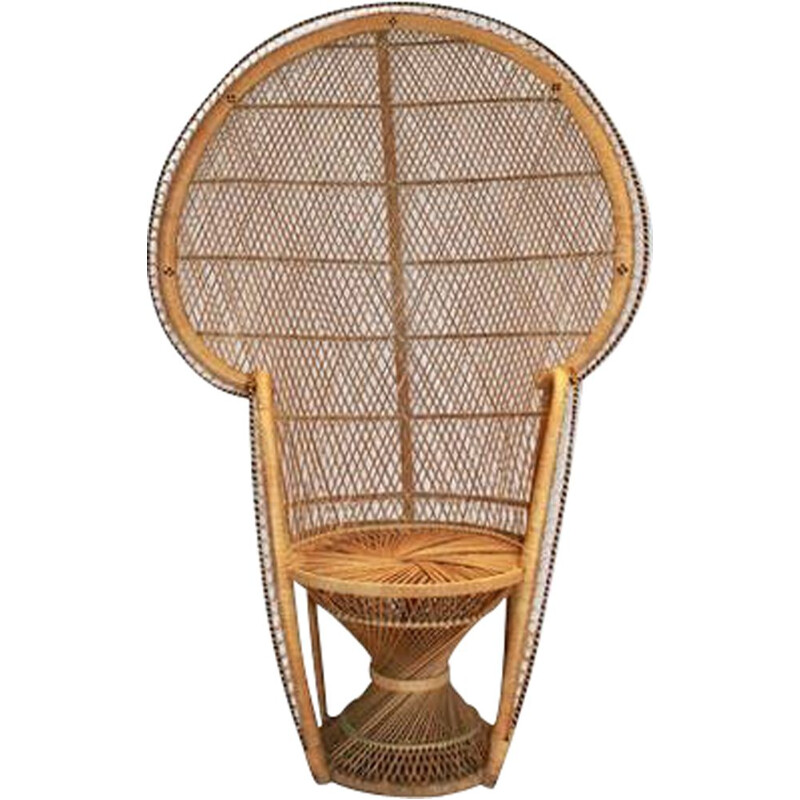 Vintage Emmanuelle armchair in natural rattan