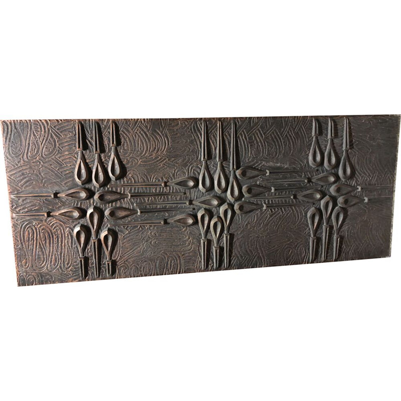Vintage wall panel in oxidized copper-clad cast aluminum