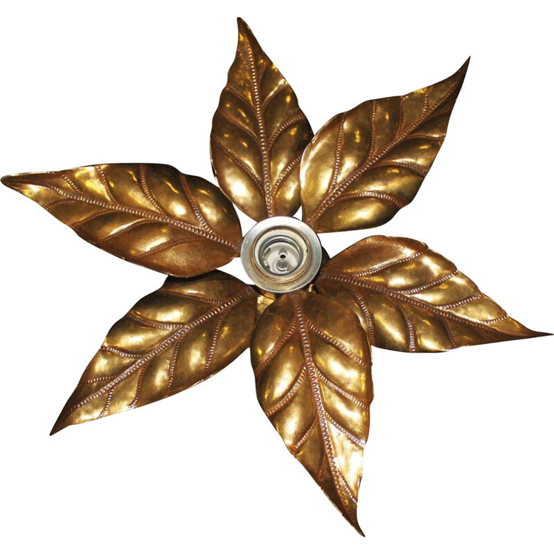 Vintage golden floral applique by Willy Daro Hollywood Regency 1970s