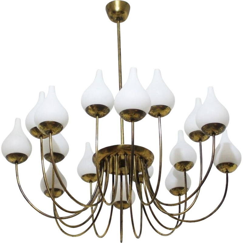 Vintage brass and opaline glass chandelier Italy 1950s