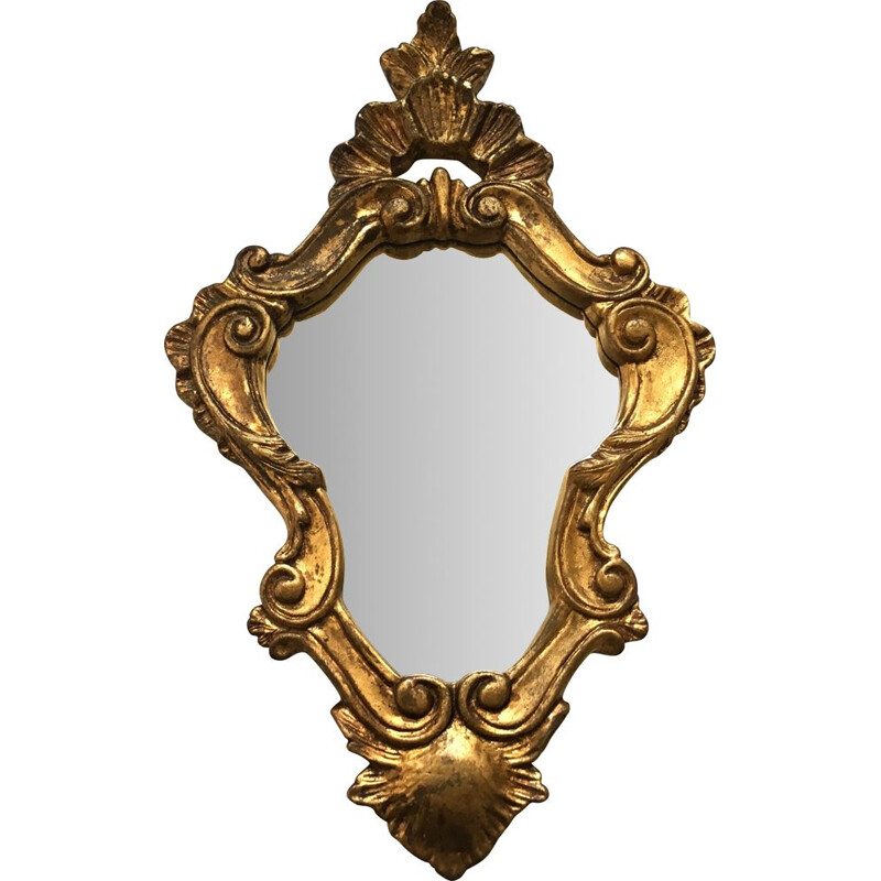 Vintage mirror in wood and gilded stucco 1940s