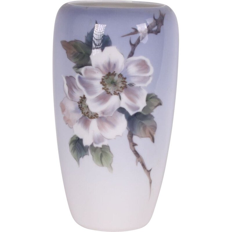 Vintage Royal Copenhagen Vase with roses Denmark 1980