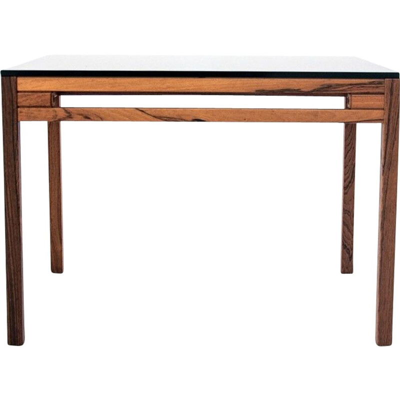 Vintage Rosewood Coffee table with glass top Denmark 1960s