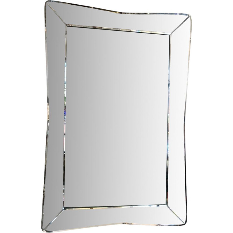 Vintage mirror with curved edges USA 1950s