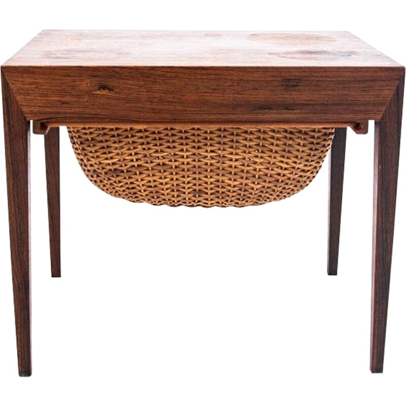 Vintage Rosewood thread table with basket Denmark 1960s