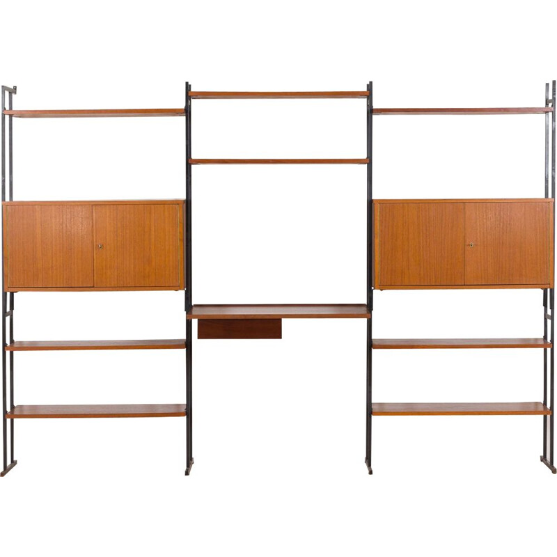 Vintage Free standing teak wall unit with a desk and 2 cabinets Denmark 1970s