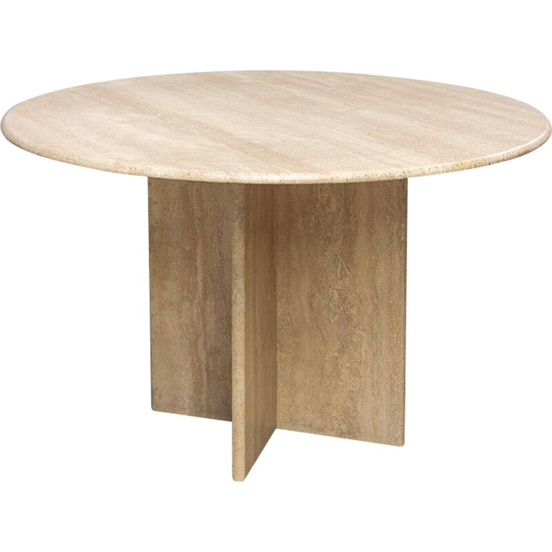 Vintage round Travertine Dining Table 1970s