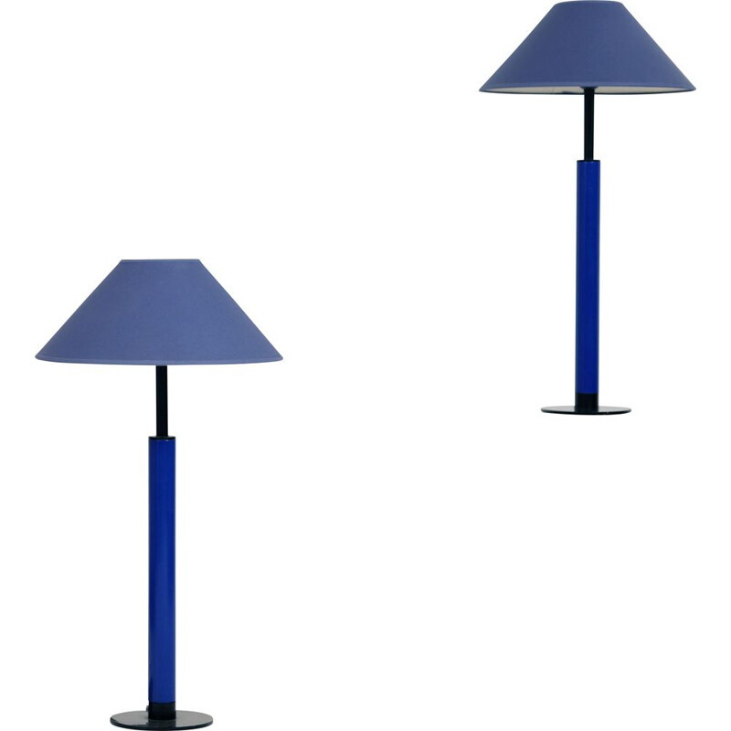 Pair of vintage Kostka blue lamps 1980s