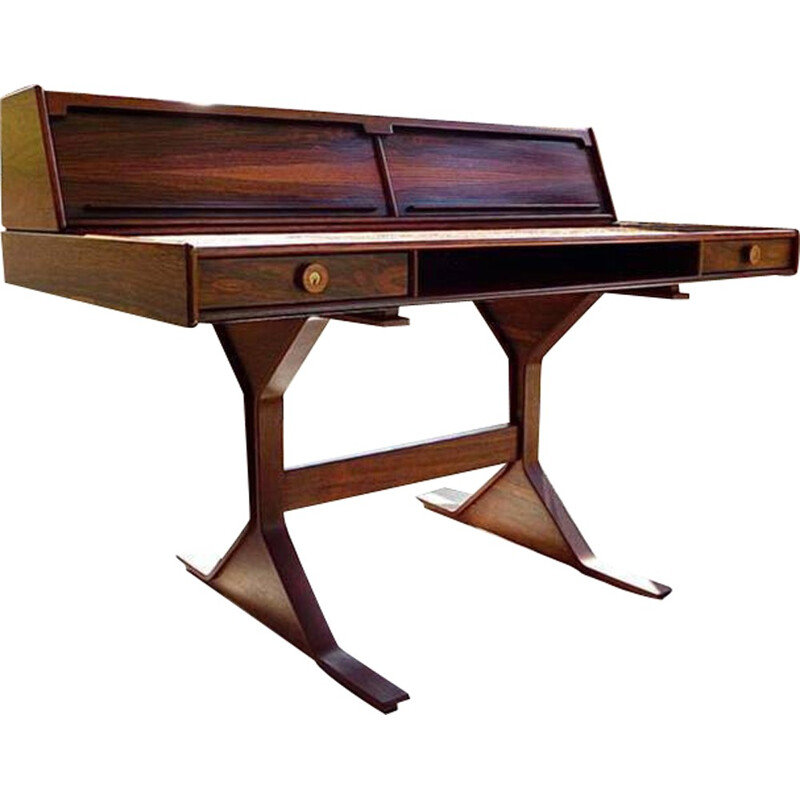 Italian Bernini desk in rosewood with Venetian blinds and drawers, Gianfranco FRATTINI - 1950s