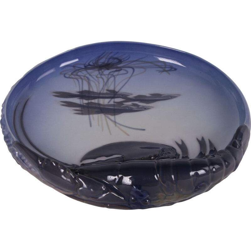 Large vintage bowl by Erik Nielsen-Royal with lobster and fish 1950s