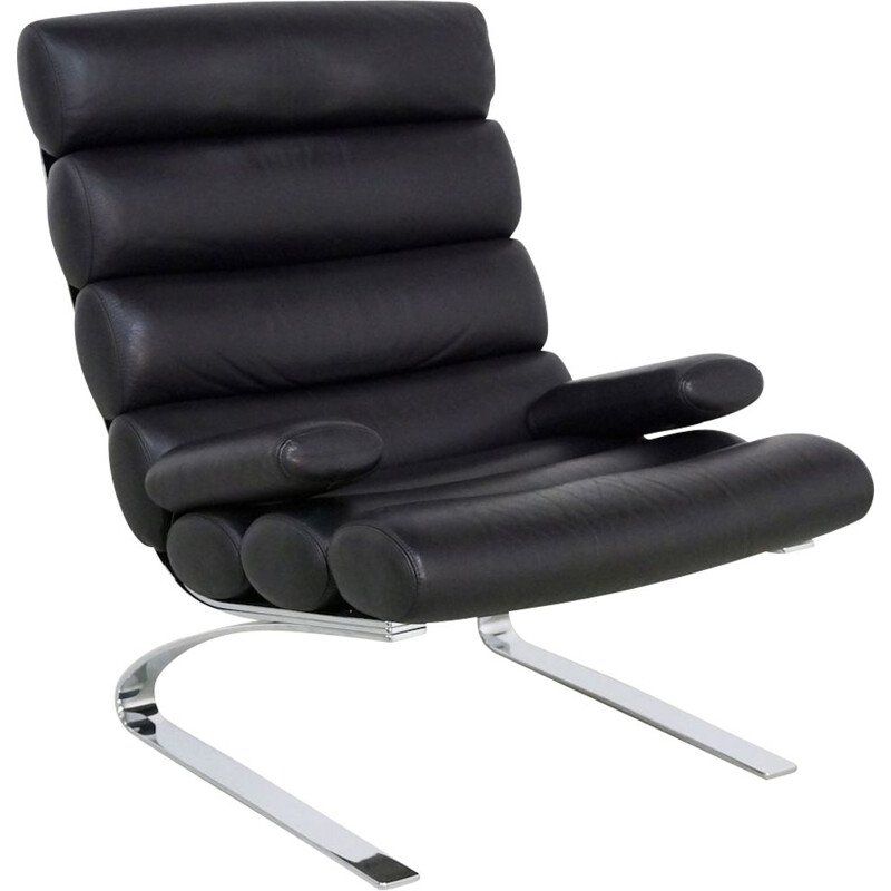 Vintage lounge chair Cor Sinus in black leather 1990s