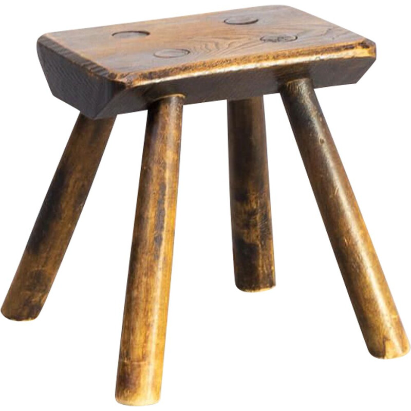 Vintage Oak Wooden stool 1930s
