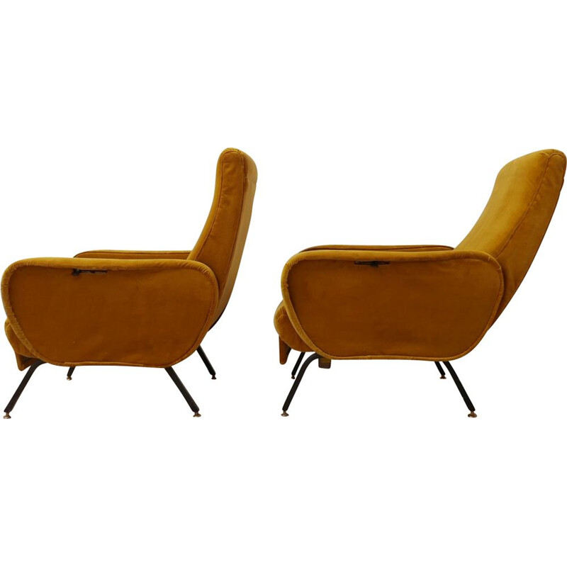 Pair of vintage Adjustable Mustard Velvet Armchairs Italian 1195s