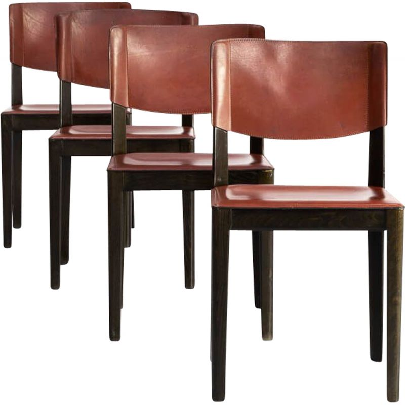 Set of 4 vintage leather and ebonized oak dining chairs for Matteo Grassi 1960s