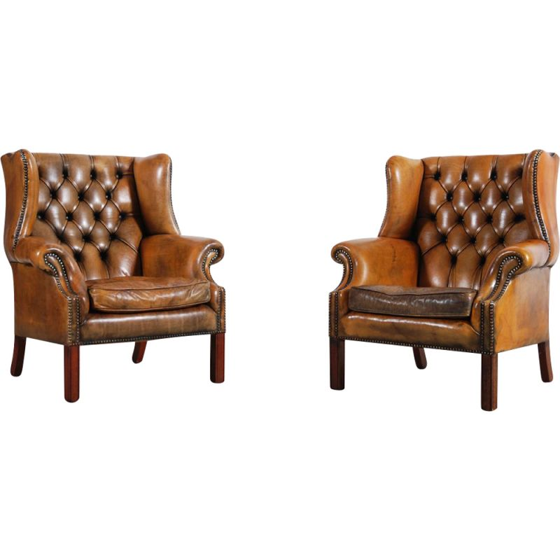 Pair of vintage armchairs with leather ears 1950s